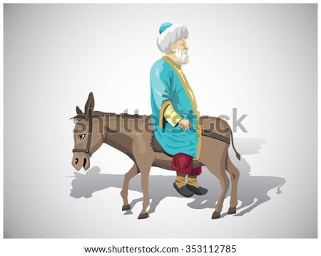 Nasreddin hodja and the donkey - stock vector