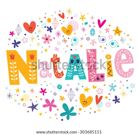 Natalie girls name decorative lettering type design - stock vector