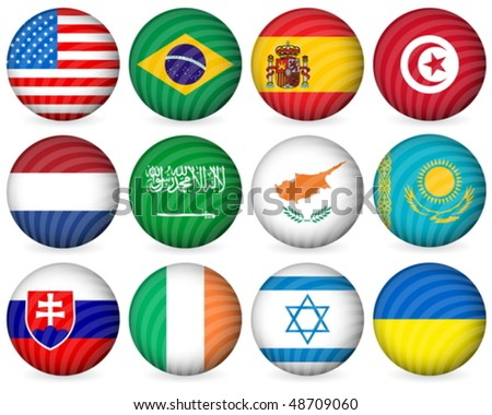 National circle icon collection set on a white background. Vector illustration. - stock vector
