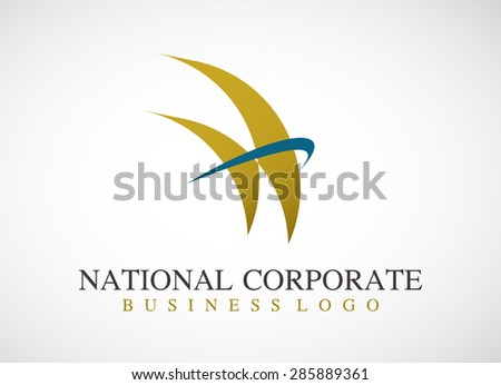 National corporate with gold sails elegant logo element design vector shape symbol icon abstract for company identity template - stock vector