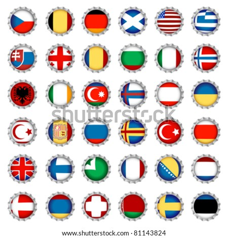 National country flags on beer bottle caps, isolated and grouped objects over white background. No gradient mesh or transparencies used. - stock vector