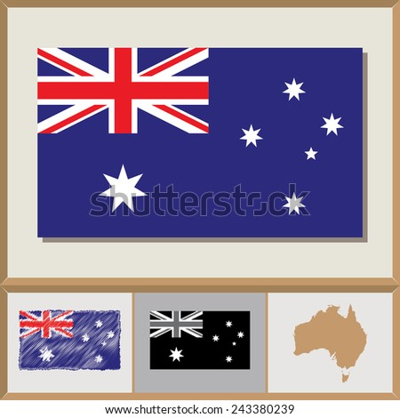 National flag and country silhouette of Australia - stock vector