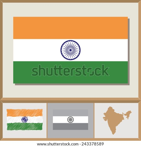 National flag and country silhouette of India - stock vector