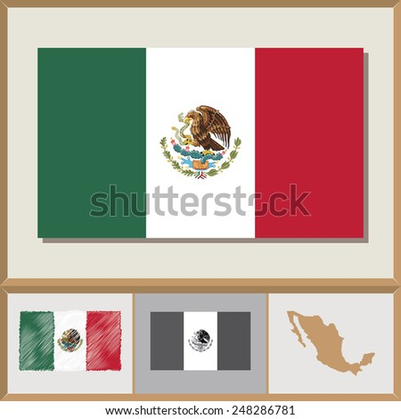 National flag and country silhouette of Mexico