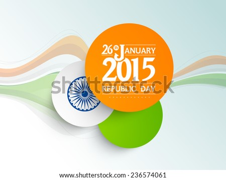 National flag colors sticky design with text 26th January 2015 and Ashoka Wheel on tricolor waves decorated blue background for Indian Republic Day celebrations.  - stock vector