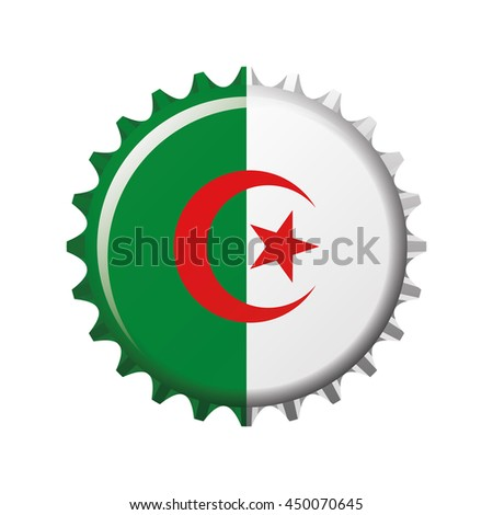 National flag of Algeria on a bottle cap. Vector Illustration - stock vector