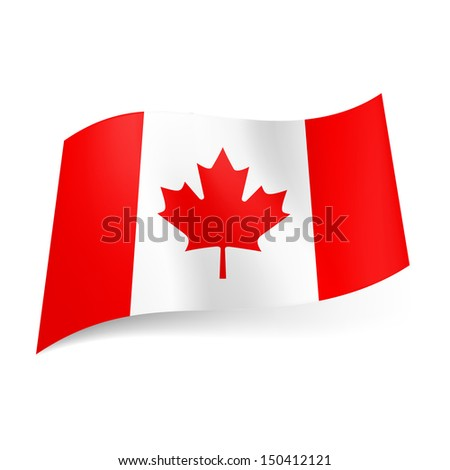 National flag of Canada: red and white vertical  stripes with maple leaf in centre. - stock vector