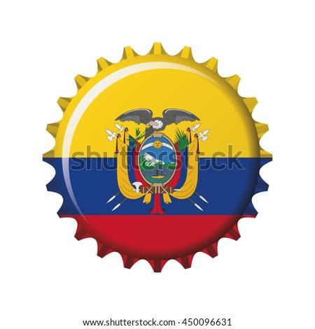 National flag of Ecuador on a bottle cap. Vector Illustration - stock vector