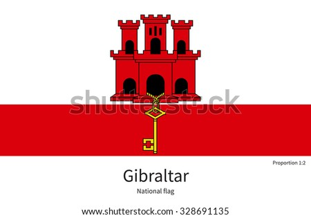 National flag of Gibraltar with correct proportions, element, colors for education books and official documentation - stock vector