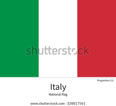 National flag of Italy with correct proportions, element, colors for education books and official documentation - stock vector