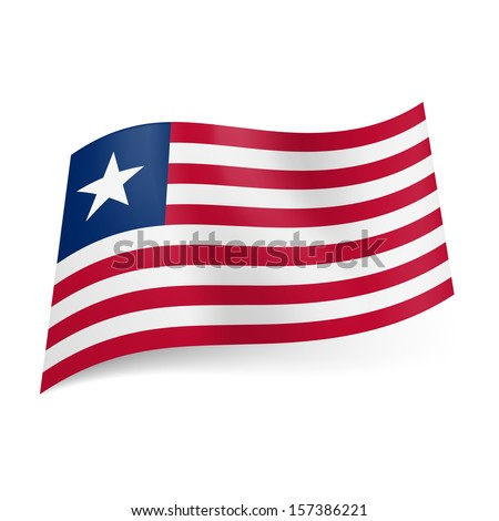 National flag of Liberia: red and white horizontal stripes, blue square with white star in upper left corner.