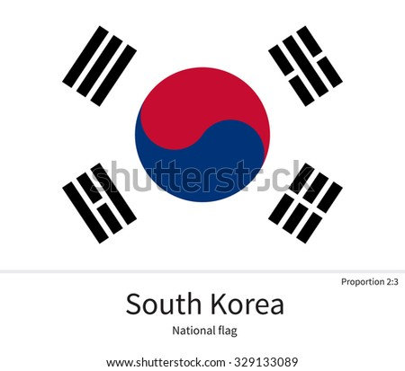 National flag of South Korea with correct proportions, element, colors for education books and official documentation - stock vector