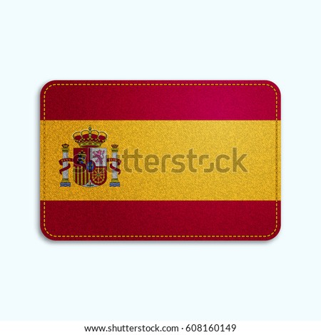National flag of Spain with denim texture and orange seam. Realistic image of a tissue made in vector illustration.