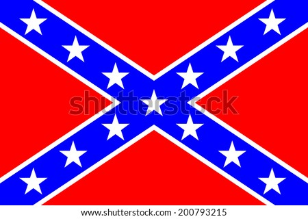 National flag of the Confederate States of America - vector illustration. Very bright colors. - stock vector