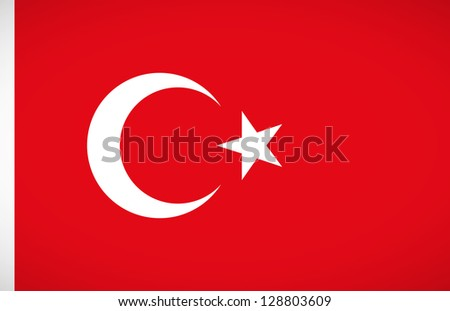 National flag of Turkey with correct proportions and color scheme - stock vector
