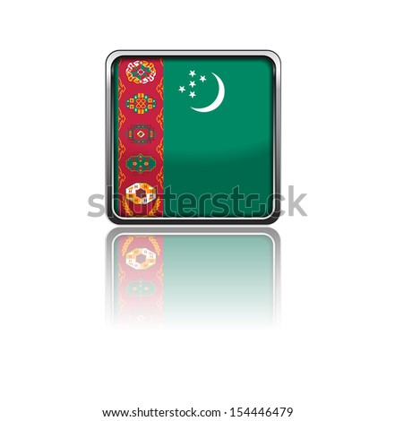 National flag of Turkmenistan in rectangle frame with reflection