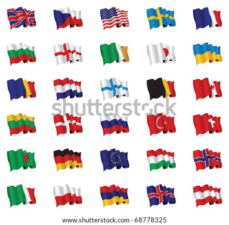 national flag set - stock vector