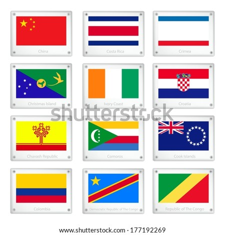 National Flags of China, Costa Rica, Crimea, Christmas Island, Ivory Coast, Croatia, Chuvash Republic, Comoros, Cook Islands, Colombia, and Congo on Metal Texture Plates with Screws.
