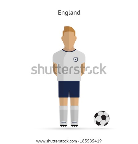 National football player. England soccer team uniform. Vector illustration. - stock vector