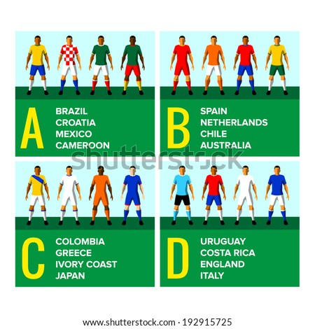 National football teams uniforms vector illustration with the names of the countries in English - stock vector
