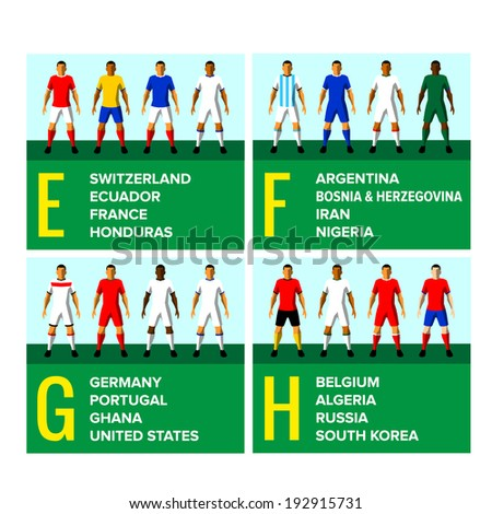 National football teams uniforms vector illustration with the names of the countries in English
