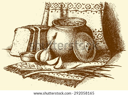 National fragrant slavic kasha from oven, sliced rye rooty, green scallion, clove. Vector freehand ink drawn backdrop sketch in art rustic doodle style pen on paper. View close-up with space for text - stock vector