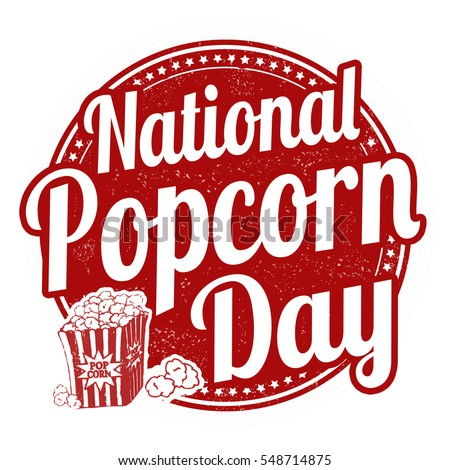 National popcorn day grunge rubber stamp, vector illustration