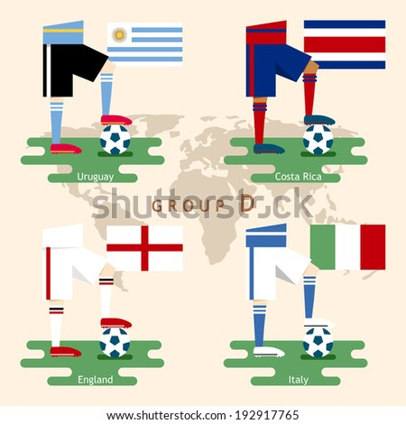 National Soccer team with flag, Flat design, Group D - stock vector