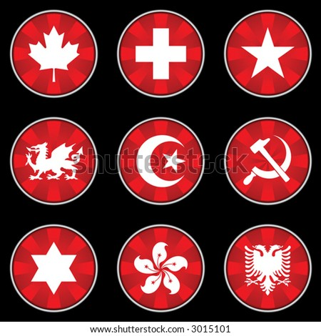 National Symbols Buttons - stock vector