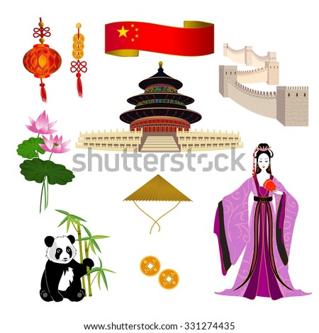 National symbols of China: chinese woman in a lilac dress, Temple of Heaven, the Great Wall of China and red lanterns. It can be used for travel design template.