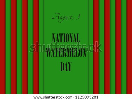 National Watermelon Day August 3 Calendar Stock Vector Royalty Free