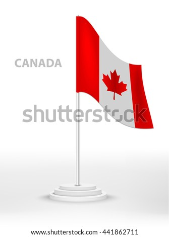 National waving flag of Canada on a pole. vector 3d country national symbol on a white background  - stock vector