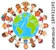 Nationalities. Different culture standing together holding hands. Unity children from around the world. Vector illustration. Isolated on white background. Earth day. Set - stock vector