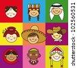 Nationalities, nationality, people - stock vector