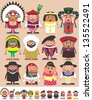 Nationalities Part 3: Set of 12 characters dressed in different national costumes. Each character is in 2 color versions depending on the background. No transparency and gradients used. - stock vector