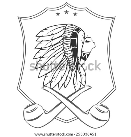 Native American artwork and vintage pictures - stock vector