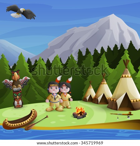 Native american concept with cartoon persons teepees and  mountains background vector illustration - stock vector