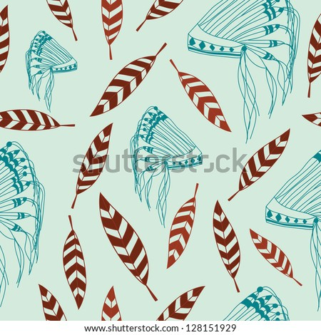 Native American headdress and feather vector illustration, can be used for wallpaper, patterns, web page background, surface textures, backgrounds - stock vector