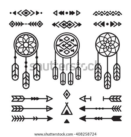 Native American Indian Design Elements Set Stock Vector