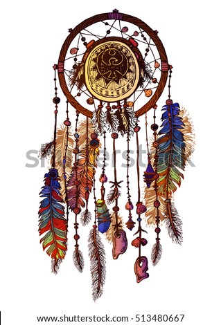 Dream Catchers Made By Native Americans Native American Indian Dream Catcher Traditional Stock Vector 15