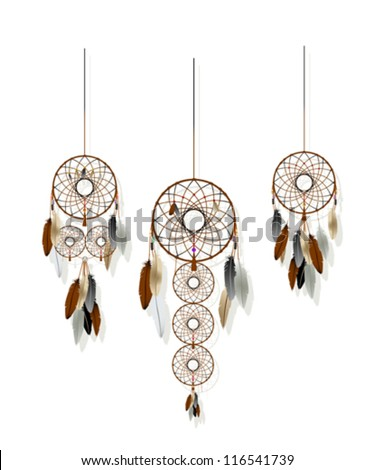 Native American-Indian dreamcatcher collection over white background. - stock vector