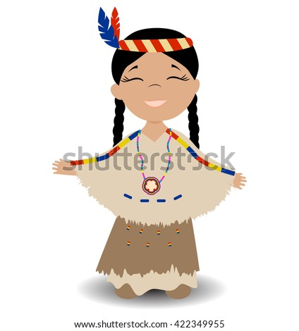 Native American Indian girl. Smiling girl with eyes closed. Vector illustration. - stock vector
