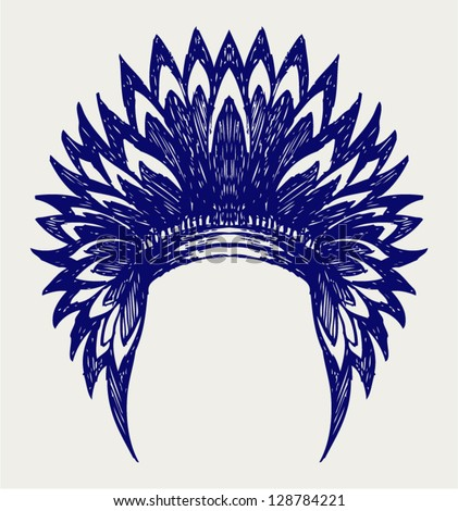 Native american indian headdress. Doodle style - stock vector