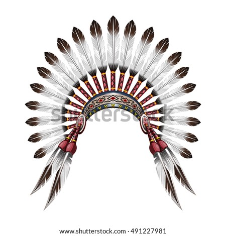 Indian tribal chief headdress with feathers feather headdress vector