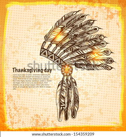 Native American indian headdress with feathers in a sketch style. Hand-drawn card for Thanksgiving day. Vector illustration. - stock vector