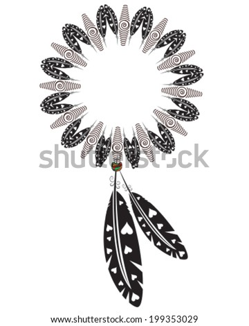 native american indian medicine shield, dream catcher with feathers and hearts - stock vector