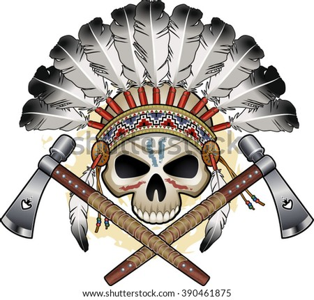 native american indian skull with crossing tomahawks - stock vector
