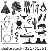 native american indians icons set  (bow and arrow, snake, horse, bison, cactus, tomahawk, axe, campfire, landscape, wigwam, chief headdress, canoe, peace pipe, dream catcher) - stock photo