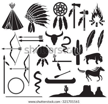native american indians icons set  (bow and arrow, snake, horse, bison, cactus, tomahawk, axe, campfire, landscape, wigwam, indian chief headdress, canoe, peace pipe, dream catcher) - stock vector