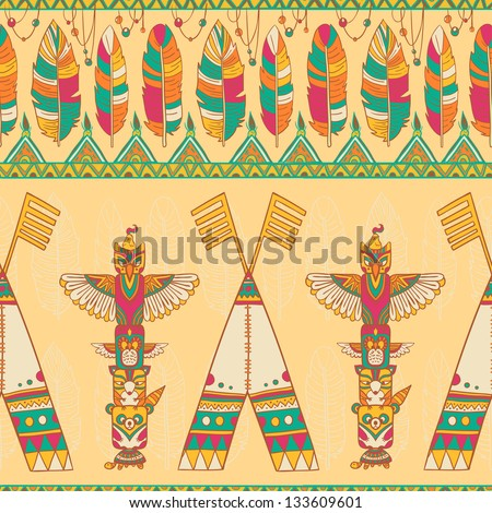 Native american indigenous ornamental seamless pattern background with wigwam and totem poles. - stock vector